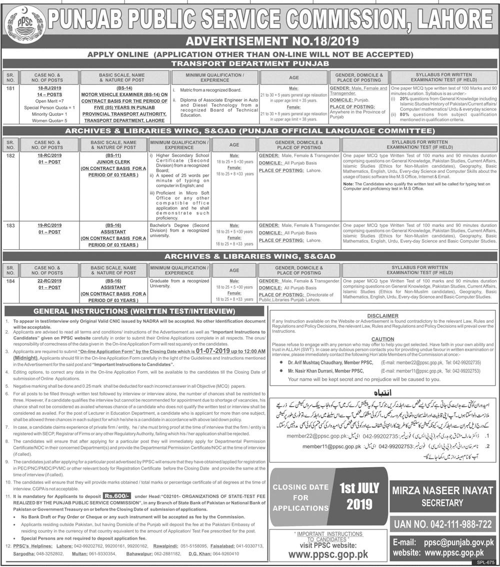 PPSC Jobs In Transport Department