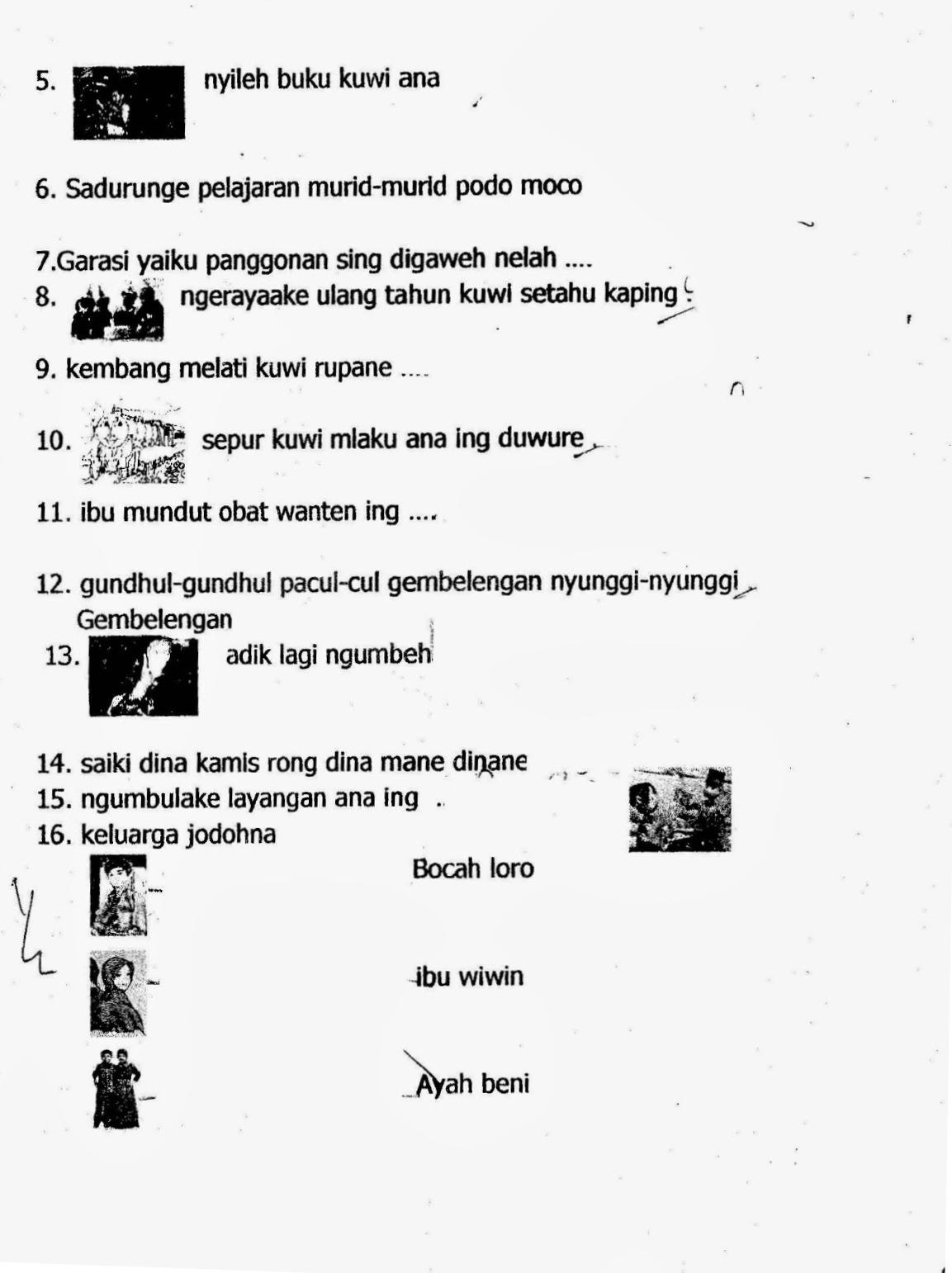 Soal Uas Bahasa Jawa Sd Kelas 1 Semester 1 Terbaru