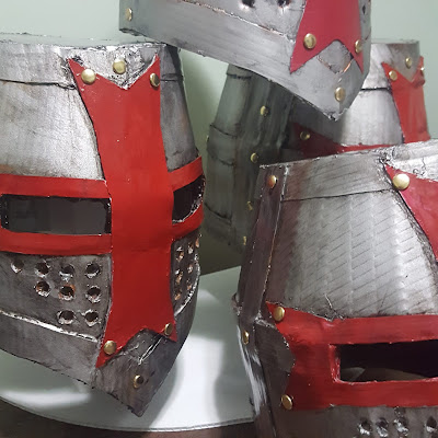 Knights Templar Crusader Helmet made from recycled Coroplast sheet plastic. Giving life back to plastic that would have otherwise gone to the landfill - Coroplast DIY - CoroplastCreations.com - HalifaxSportsPhotos.ca