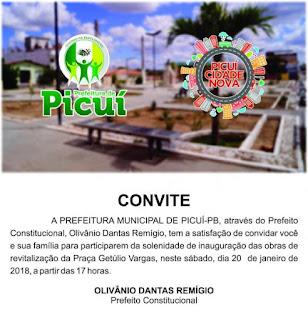 Prefeitura de Picuí entrega obras na praça Getúlio Vargas neste sábado (20)