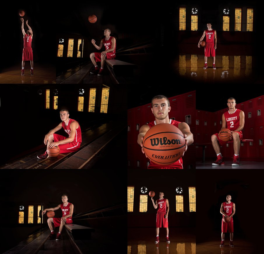 Basketball themed Senior  guy portraits in a classic old gym and red uniform