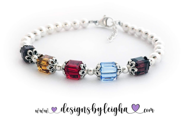Birthstone Bracelets for Grandma with 5 birthstones: January, November, July, December and January