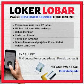Info Lowongan Kerja Customer Service Syabli Inc Lombok