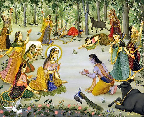Uddhava and Gopis  Uddhava delivering Krishna's message to the Gopis
