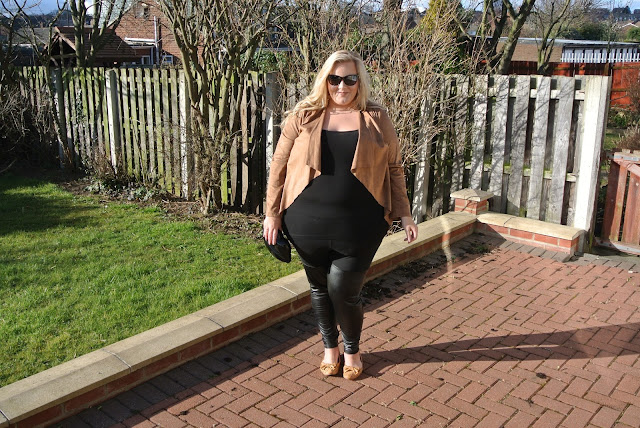Plus Size Tan Suedette Waterfall Jacket