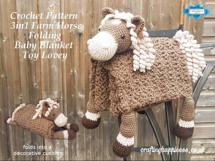 3in1 Farm Horse Folding Baby Blanket Toy Lovey Crochet