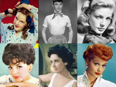 Collage of 1950s celebrity hairstyles