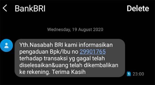 Screenshot SMS BankBRI. Uang masuk malam hari.  Mantaff