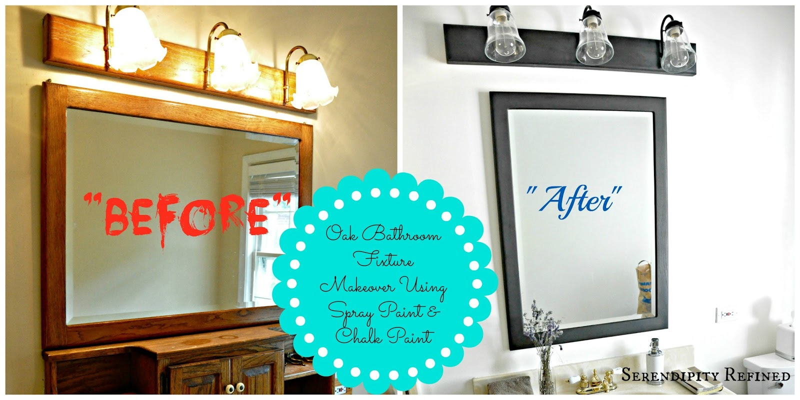 Serendipity Refined Blog How To Update Oak And Br Bathroom Fixtures With Spray Paint Chalk