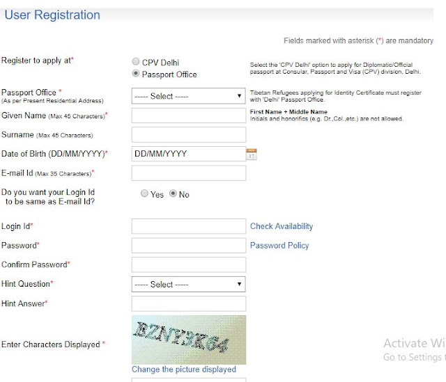 Online Registration for Passport
