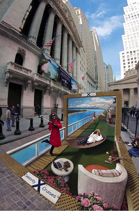 Bir caddede bir cruise gemisi üzerindeki bir deniz yolculuğunu gösteren kaldırım sanatı resmi
