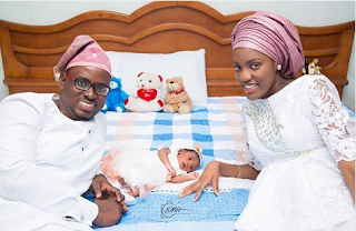 Mike Bamiloye's Son, Damilola welcomes a baby girl with his wife, Ella. (Photo)