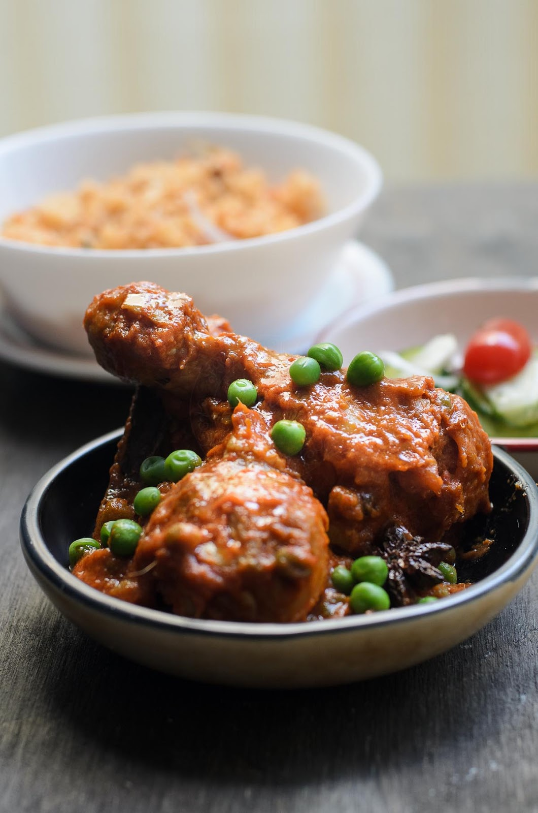 Malaysian fried chicken cooked in spiced tomato sauce