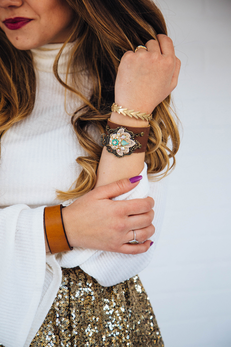 red lips, leather bracelet, charm bracelet