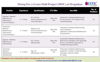 Green Field Project (MNC) at Oragadam Hiring For ITI, Diploma B.E./ B-Tech Experienced Candidates