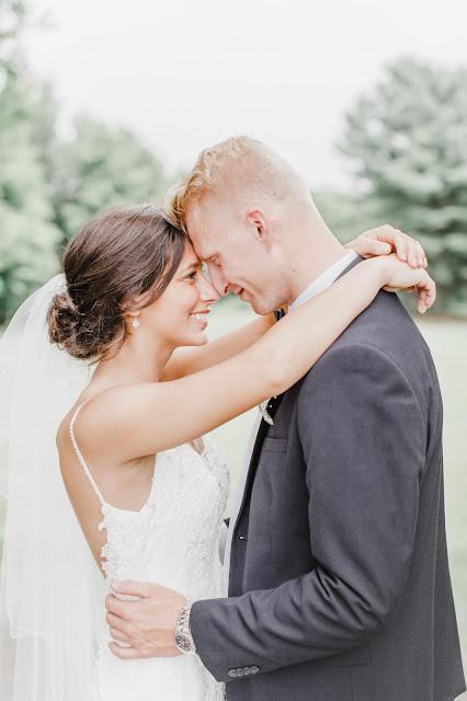 bride and groom gazing