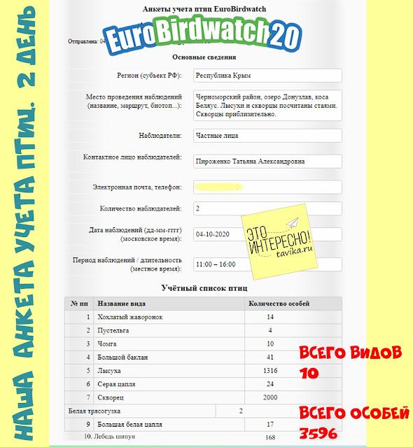 Анкета Eurobirdwath
