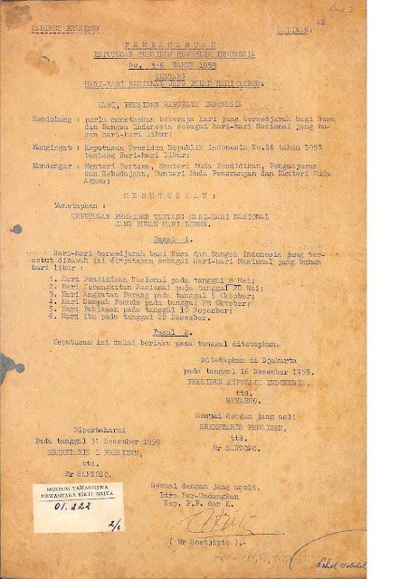 Surat Presiden Soekarno Tentang Hari Ibu - Halaman 1