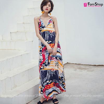 Váy maxi đi biển V410