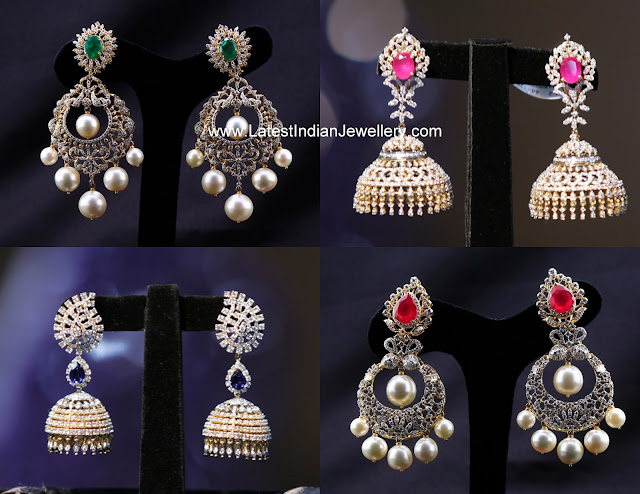 Manepally Diamond Earrings Collection Latest Indian