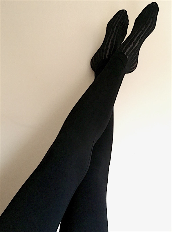 e9ec789cde8d8 These leggings are very, very stretch and very, very long. They're  completely opaque and are a dark matt black. Just what I like. There is  seam that runs ...