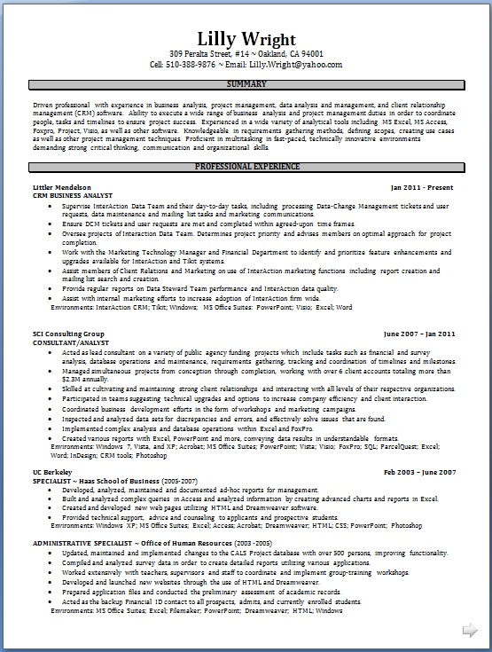 crm business analyst resume format in word free download