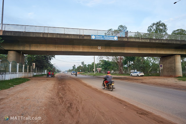 The friendship bridge (a car border) between Laos and Thailand