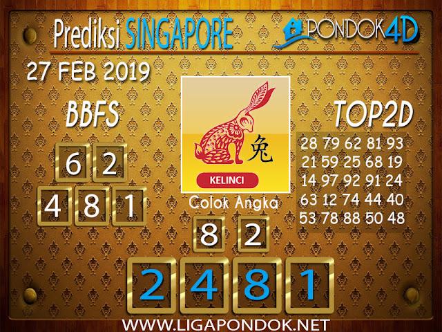 Prediksi Togel SINGAPORE PONDOK4D 27 FEBRUARI 2019