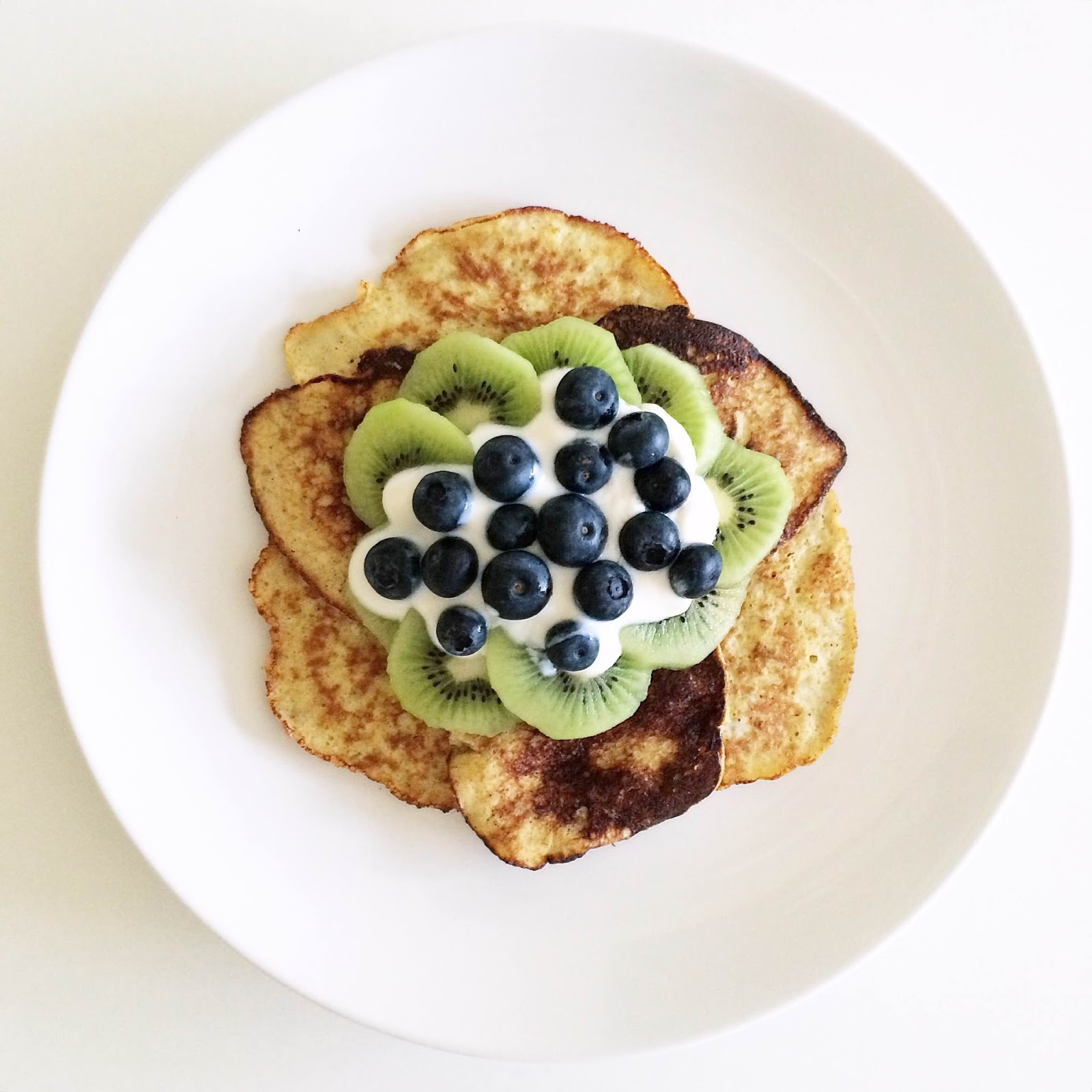 kristjaana mere healthy breakfast banana pancakes kiwi blueberries soy yogurt