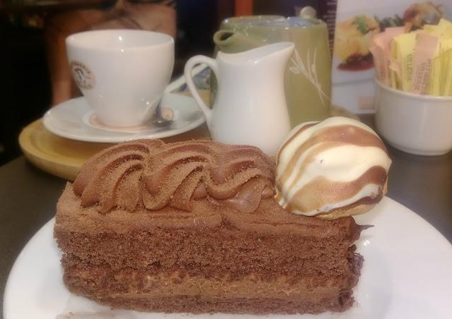 Chocolate Gateau Slice at Patisserie Valerie