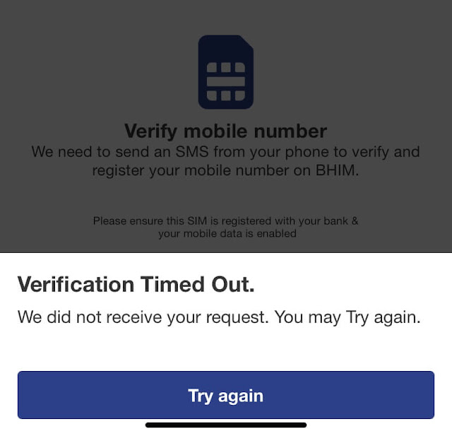 Verification timed out BHIM error on iPhone