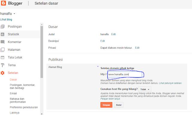 Cara Ubah Domain blogspot.com Jadi (.com, .id, .net atau .org)