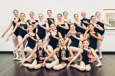 From left to right, first row: Abigail Scollins, Haylee Goguen and Cheyanne Kelley as Ypung Clara; second row: Jackie Dubois, Agelina Rak, Grace Jerrier and Rachel Barros as Mature Clara; third row: Julia Broll, Katelyn Auerback, Isabella Lambros, Ellie Rodriques and Amanda Mason; fourth row: Emily Conroy, Samantha Robillard, Bridgette Ginley, Andrea Gray, Dani Bean and Larissa Logan. Missing: Norah Hansen. Photo credit: Marcos Esteves