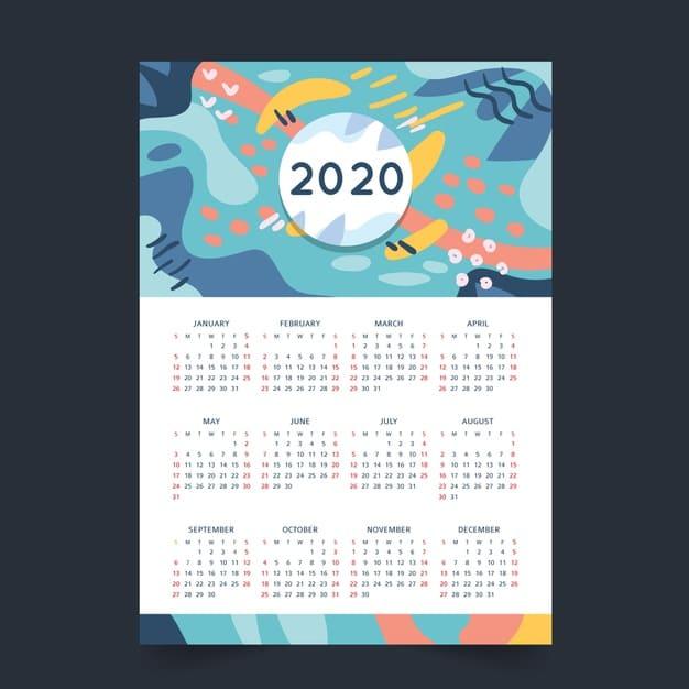 Plantilla de calendario 2020 editable con diseño abstracto