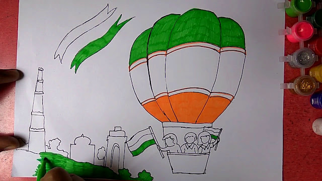 Happy Independence Day Sketch Free Download