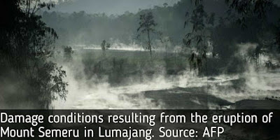 Damage conditions resulting from the eruption of Mount Semeru in Lumajang