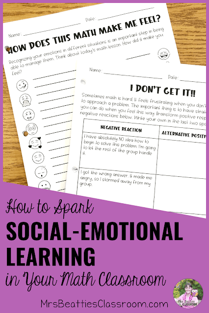 "Photo of SEL in Math activities with text, ""How to Spark Social-Emotional Learning in Your Math Classroom."""