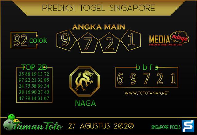 Prediksi Togel SINGAPORE TAMAN TOTO 27 AGUSTUS 2020