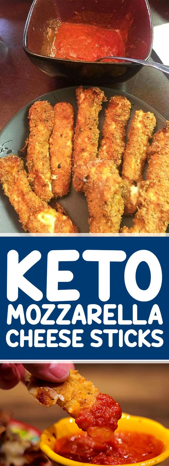 These Keto Mozzarella Sticks are made with string cheese coated in a crispy, flavorful coating of Parmesan and almond flour and fried to ooey, gooey, cheesy perfection in less than 30 minutes!