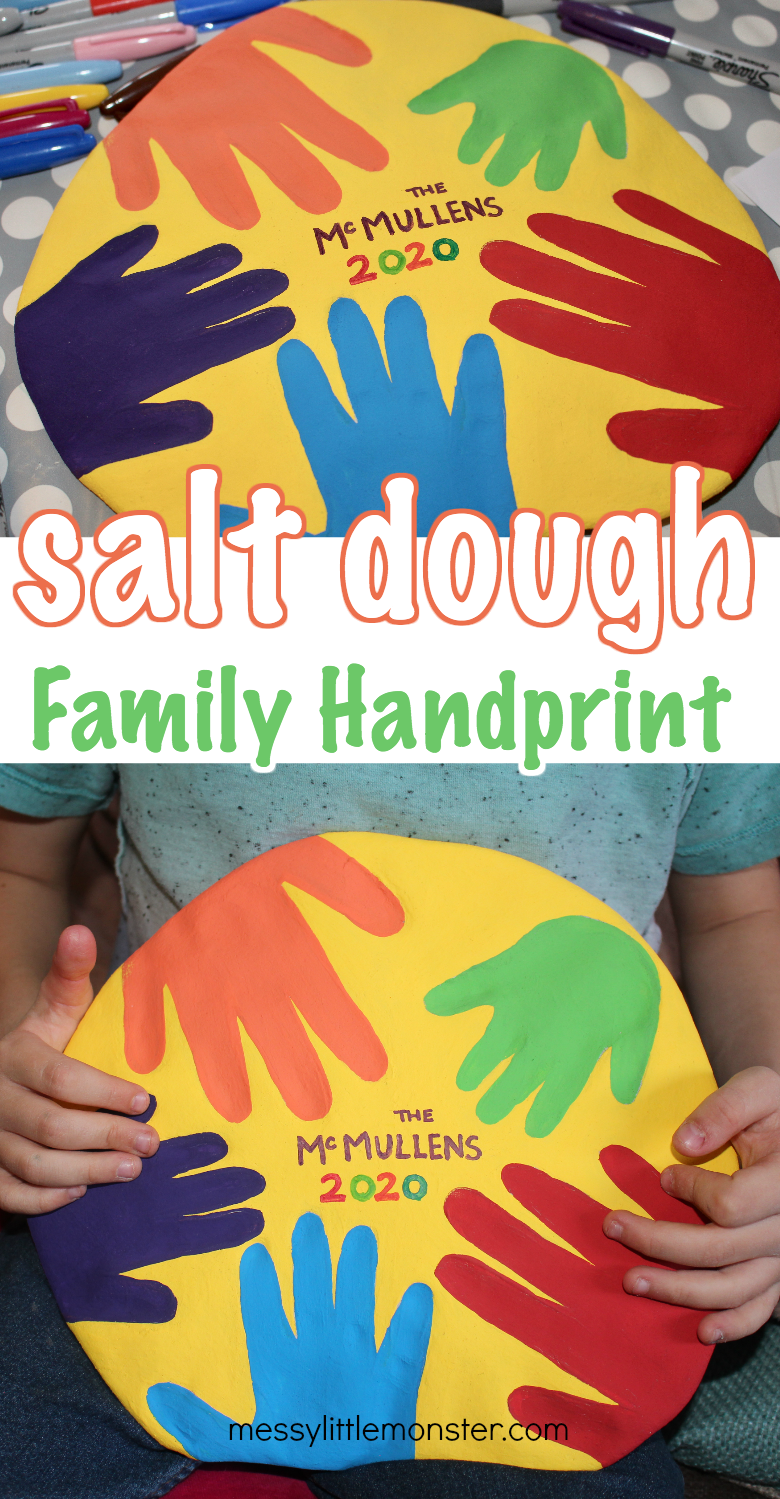 Salt dough handprints. Family handprint art. A fun salt dough project for families with salt dough recipe.