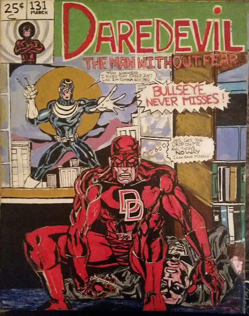 A recreation of Marvel's Daredevil comic front page having Bullseye and Daredevil by artist Eddie Morgan.