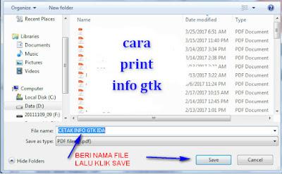 cara print info GTK guru