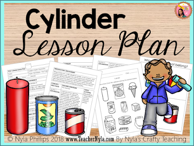 Cylinder lesson plan with activities, posters and a worksheet