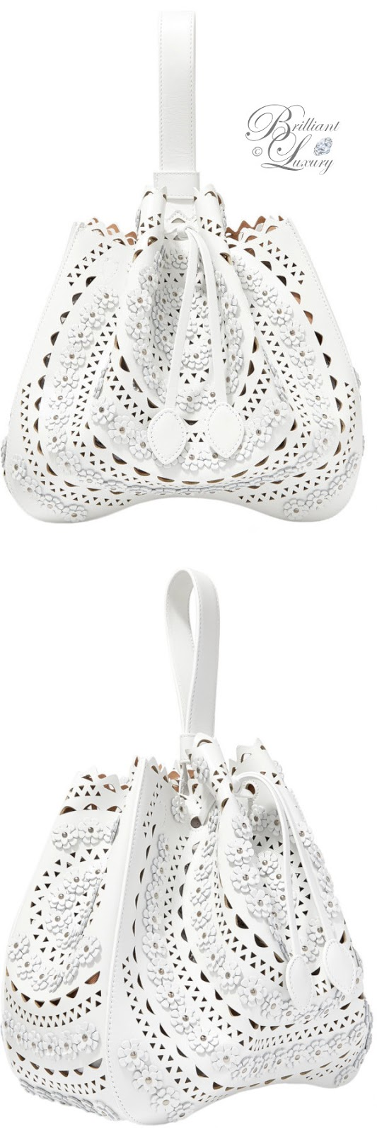 Brilliant Luxury ♦ ALAÏA medium appliquéd laser-cut leather bucket bag