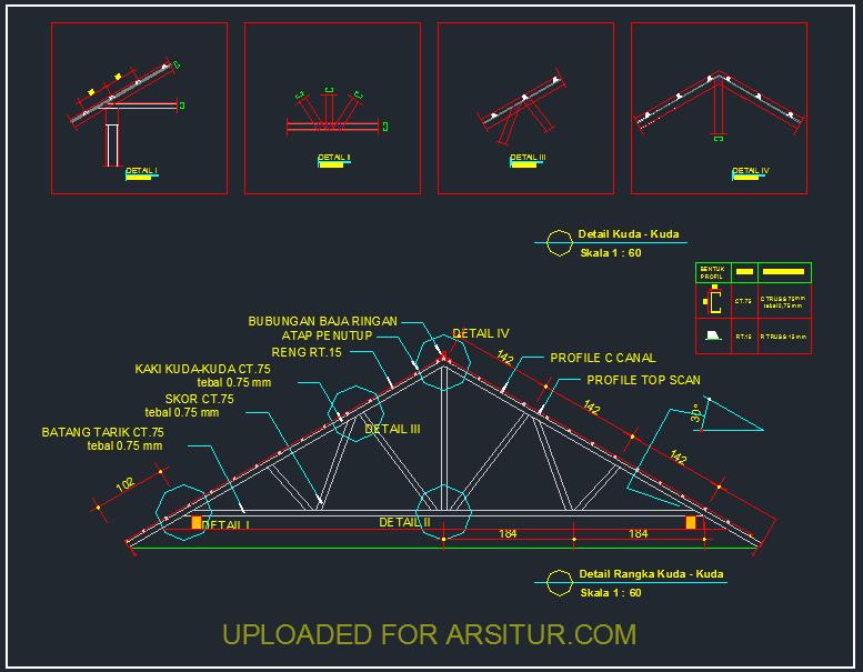 contoh rangka atap baja ringan minimalis detail kuda 1 gambar autocad