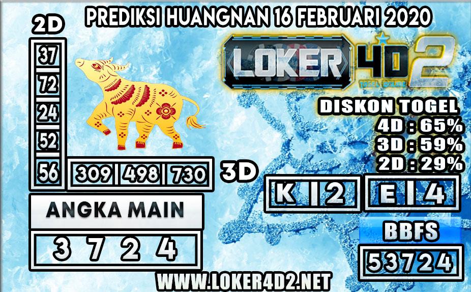 PREDIKSI TOGEL HUANGNAN LOKER4D2 16 FEBRUARI 2020