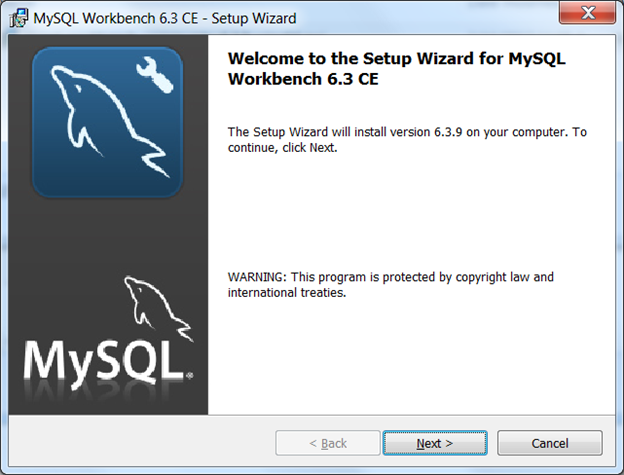 MySQL installation : installation with the Setup Wizard. Click the Next button.