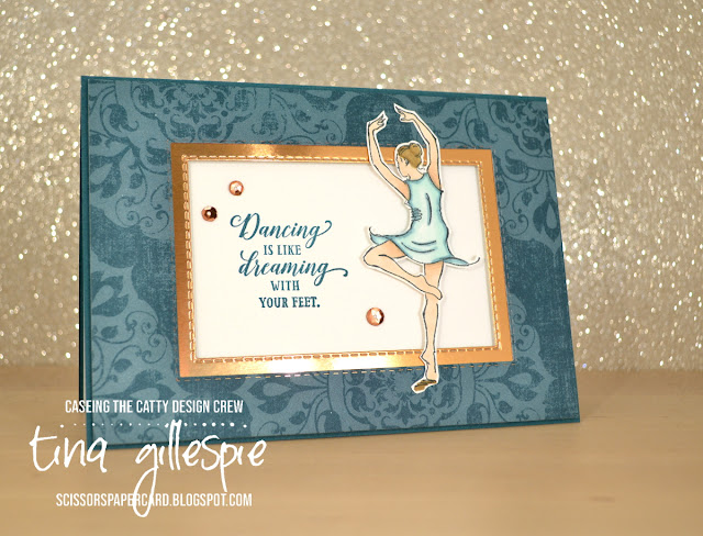 scissorspapercard, Stampin' Up!, CASEing The Catty, Born To Shine, Rectangle Stitched Dies, Woven Threads DSP, Copper Foil, Stampin' Blends
