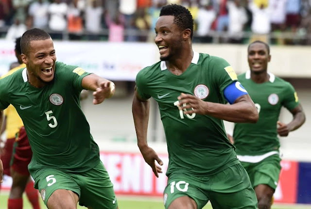 Mikel celebrates goal against Cameroon in Uyo. Nigeria 4-0 Cameroon.