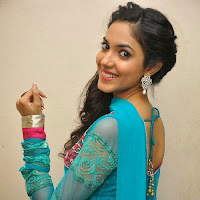 Ethnic Ritu varma photos in blue salwar kameez at prema ishq kadhal audio success meet function